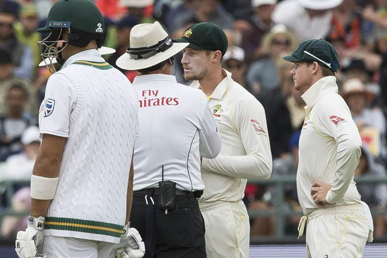 Cape Town : Cameron Bancroft of Australia talks to the umpire on the third day of the third cricket test between South Africa and Australia at Newlands Stadium, in Cape Town, South Africa, Saturday, March 24, 2018.AP/PTI(AP3_24_2018_000109B)